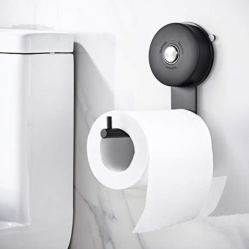 YOHOM Toilettenpapierhalter Vakuum Saugnapf Edelstahl Klopapierhalter Klorollenhalter Toilettenrollenhalter Papierhalter Toilette Rollenhalter Toilettenpapier WC Papier Halterung ohne Bohren Schwarz
