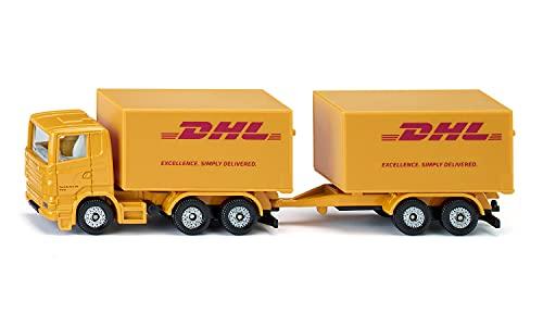 siku 1694, LKW mit Anhänger DHL, Metall/Kunststoff, Gelb, Heckklappen zum Öffnen, Abnehmbarer Anhänger