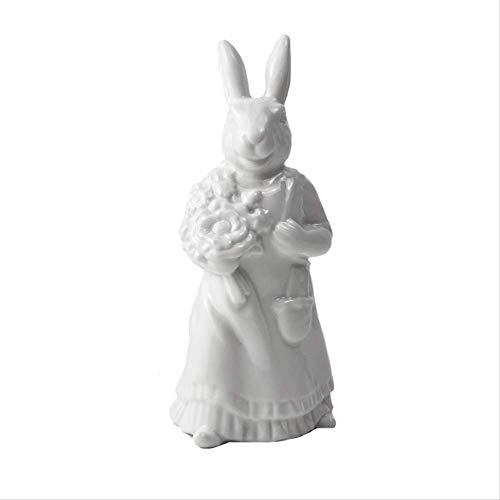 KKUUNXU Pascua Navidad Color Puro Conejo Estatua de cerámica Decoración Escritorio Decoración Decoración del hogar Regalo