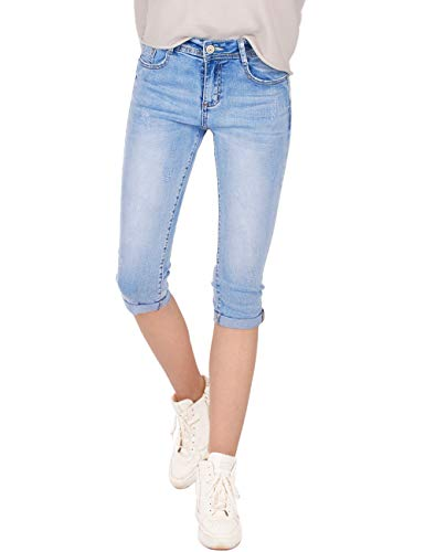 Fraternel Damen Jeans Hose Shorts Capri Knielang Stretch Hellblau XS / 34