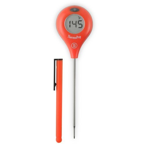 ThermoWorks ThermoPop Super-Fast Thermometer with Backlit Rotating Display (Red) by ThermoWorks