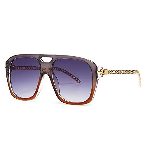 NBJSL Gafas de sol de montura grande de moda para mujer Gafas de sol de pierna de espejo de metal para mujer Embalaje de regalo exquisito