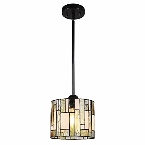 Maxxmore Tiffany Hanging Lamp Elegant Pendant Tiffany Lighting Fixtures Modern Stained Glass Lamps Kitchen Light Tiffany Mini Pendant Lighting Adjustable Hanging Tiffany Lamp 8' Wide