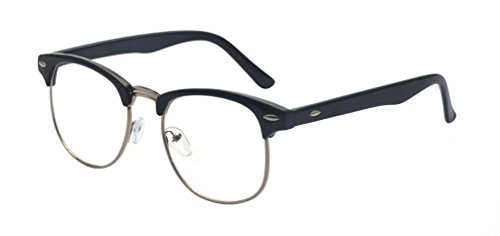 Montura para gafas Outray de pasta y metal, estilo retro, cristales transparentes plateado negro/plata talla única