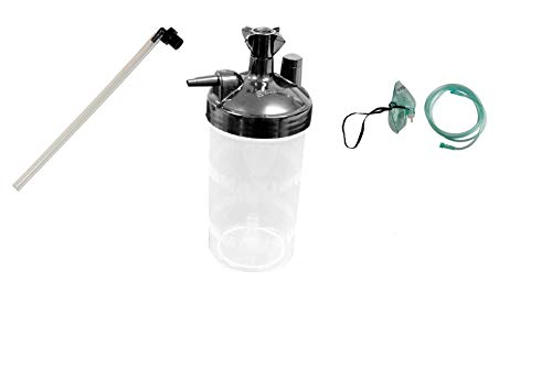 """Water Bottle Humidifier Plus Tubing Connector Elbow 12"""" and Oxygen Mask - 7Foot"""