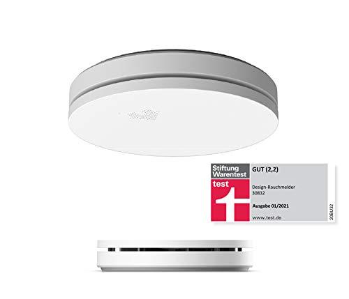 UNITEC 10 Jahres Design Rauchwarnmelder | Stiftung Warentest GUT (2,2) | drahtlose Aufputzmontage | Ultraflach | Selbsttestfunktion | inkl. Batterie | DIN EN 14604