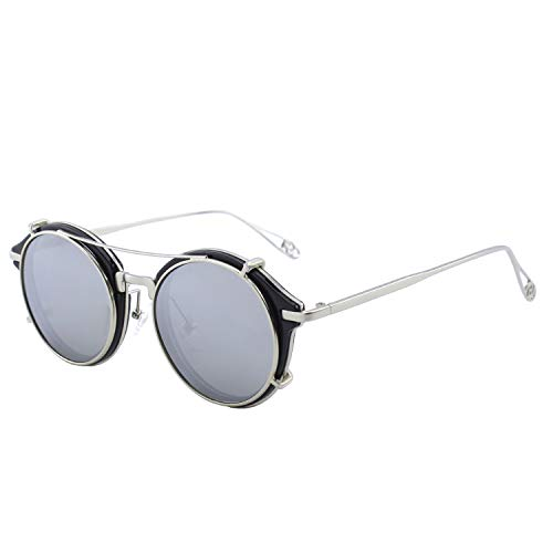 CGID Gafas de Sol Polarizadas Sin Patillas (clip-on) Steampunk Metal Retro Lente Doble UV400 Vintage Lentes de Forma Redonda Hombres y Mujeres