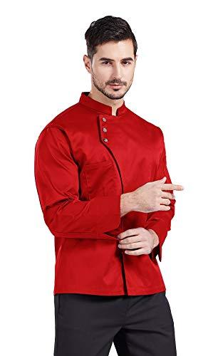 Nanxson Giacca da chef Manica lunga giacche da cuoco Uomo Donne Nero CFM0057 (XL, Rosso)