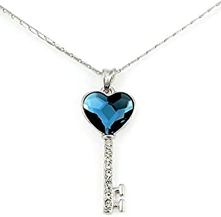 Swarovski Elements Women's 18K White Gold Plated Necklace Encrusted with Navy Blue Swarovski Crystals - SWR-100