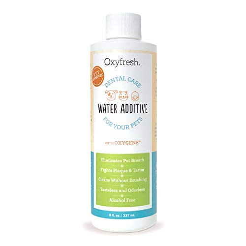 Oxyfresh Premium Pet Dental Care Solution Pet Water Additive: Best Way to Eliminate Bad Dog Breath and cat Breath - Fights Tartar and Plaque - So Easy, just add to Water! Vet Recommended! 8 oz.