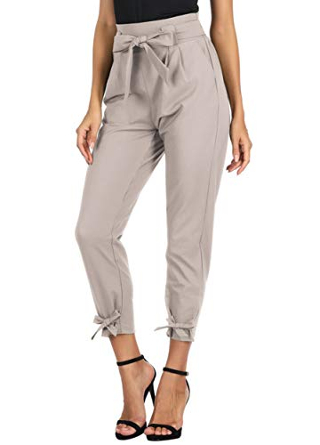 GRACE KARIN Women's Pants Trouser Casual Cropped Paper Bag Waist Pants M Lavender Blush