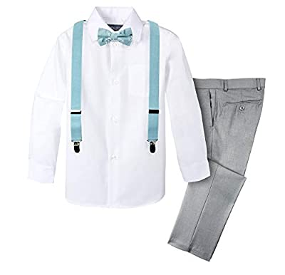 Spring Notion Boys' 4-Piece Suspender Outfit with Cotton Floral Bow Tie Light Grey/Blue 3T