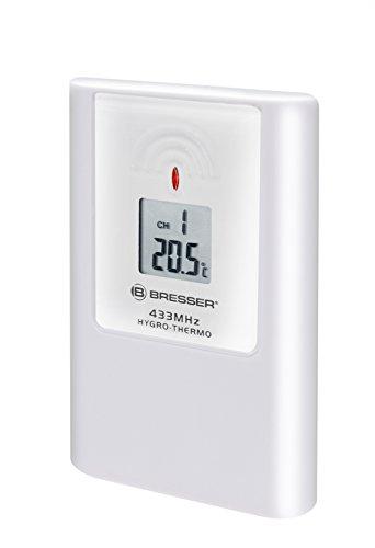 Bresser Thermo/Hygro 3 Kanal Außensensor für TemeoTrend Modelle und MyTime Jumbo Wanduhren mit Temperaturanzeige und Luftfeuchtigkeitsanzeige