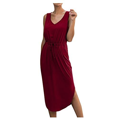 Damen Freizeitkleid, Mode Casual Solid V-Ausschnitt ÄRmelloses Verbandkleid Langes Partykleid Vestkleid Shirtkleid Strandkleid Midi Kleid Mit Kordelzug