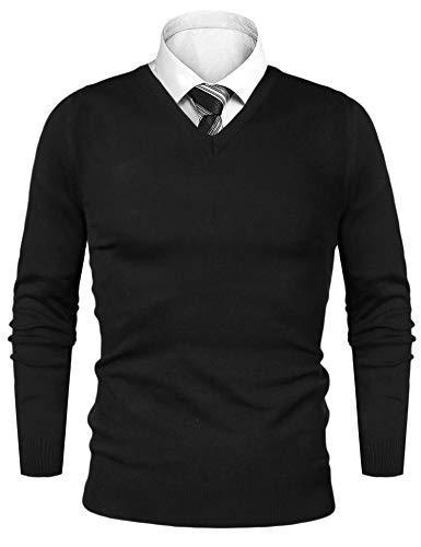 iClosam Pullover Herren V-Ausschnitt Langarm Baumwolle Sweater (Schwarz#, M)