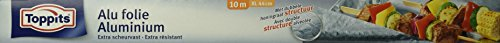 Toppits Extrabreite Alufolie, 10 Meter, Breite 44 cm, Spenderkarton, Silber