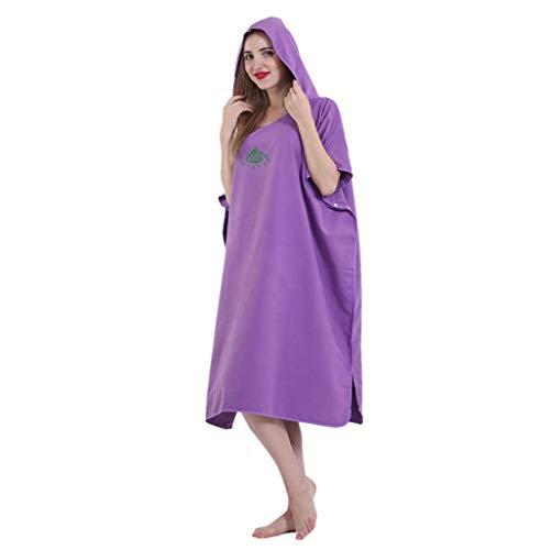 X-Labor Poncho de baño unisex de microfibra, secado rápido, albornoz con capucha, toalla de ducha, natación, surf, playa, buceo, etc., A-violeta., Talla única