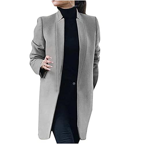 플러스 사이즈 겨울 코트 여성용 긴 길이 솔리드 칼라 스탠드 칼라 자켓 여성 열기 앞 카디건