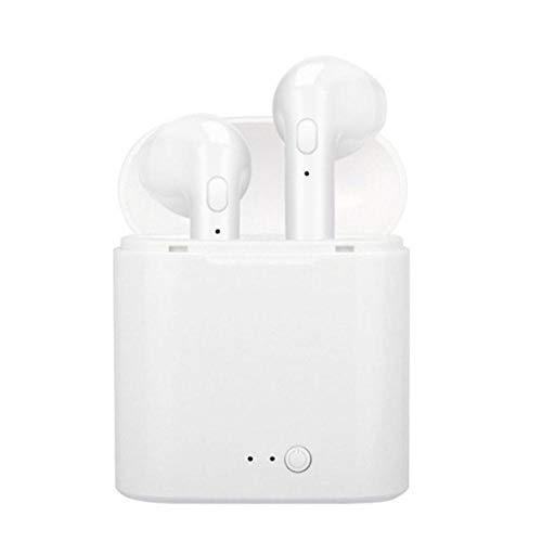 TWS auriculares 5.0 Bluetooth auriculares inalámbricos con micrófono para iPhone 11 Pro Max XS 8 7 6 6S todo el teléfono Andriod, blanco