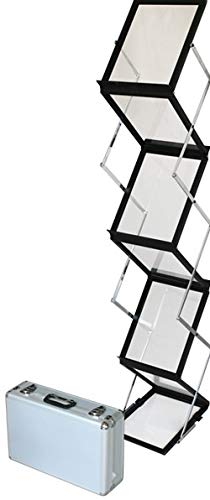 Prospektständer faltbar Schwarz Luxus 6 x A4 aus Alu/Acryl. Inkl. Tragekoffer aus ALU. Bodenprospektständer. Silber Hochformat Falt-Prospektständer