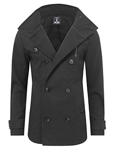 TAM WARE Mens Stylish Fashion Classic Wool Double Breasted Pea Coat TWCC08-CHARCOAL-US M