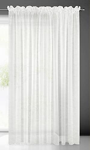 Eurofirany Lucy Tenda Liscia Nastro Arricciato in Voile, 1 Pezzo. 300 x 300 cm, Trasparente, di Alta qualità, per Camera da Letto, Soggiorno, Elegante, Poliestere, Bianco