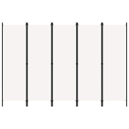 Tidyard Paravento a 5 Pannelli Bianco 250x180 cm,Separé per Interni, Divisorio per Stanze, 5 Ante