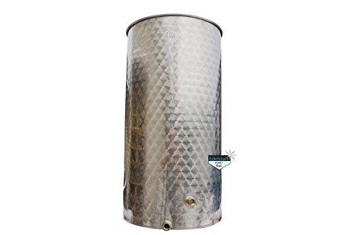 Immervolltank / 200 Liter Fass aus Edelstahl, Fischer-Kellereitechnik Serie T 200, mit Schwimmdeckel, Luftschlauch und Luftpumpe mit Manometer, Most-Fass Lebensmittel-echt