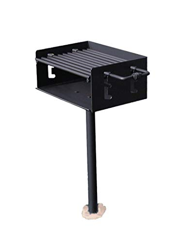 Easychef Heavy Duty Outdoor Park Style Charcoal & Wood Grill with In Ground Post (No Base)
