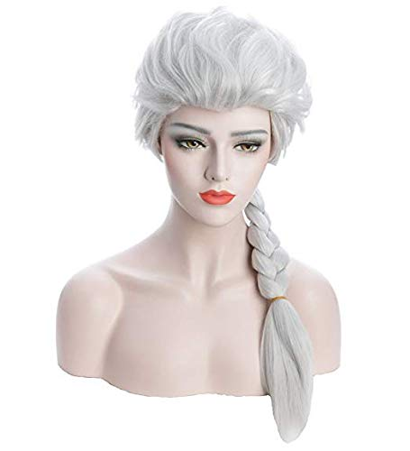 Rzf Frozen elsa Anna cosplay pruik Natuurlijke synthetische vezel comfortabel ademend verstelbare telescopische stretc Lange Weven Braid Cosplay Volwassene Pruik