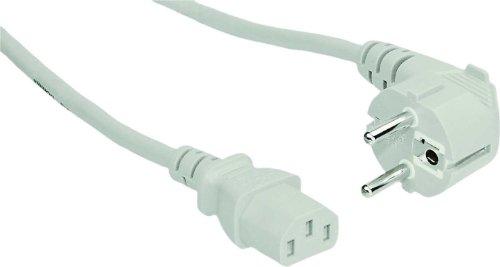 InLine® Netzkabel, Schutzkontakt gewinkelt auf Kaltgerätestecker, 3m, weiß