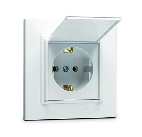 Karea Schuko stopcontact met kinderbeveiliging en afdekklep + frame, VDE-gecertificeerd, inbouw met stekkerklem, in wit