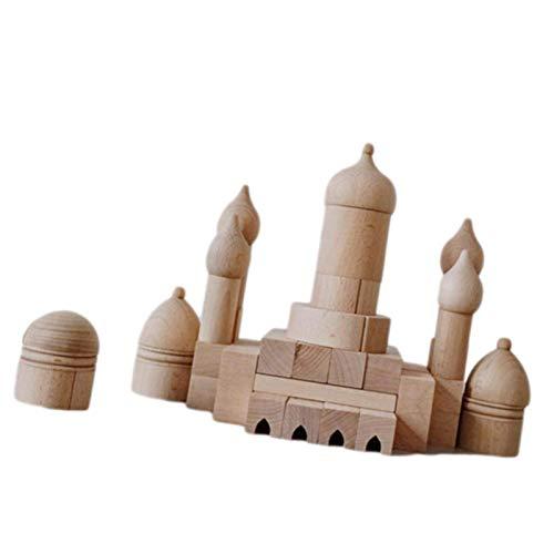 LIUCHANG Baustein Set-Wood Activity Cube, Burg Bausteine Safe Pädagogische Schloss Puzzle Spielzeug Kinder Pädagogische Holzspielzeug Holz Farbe Buchen Zwiebeln liuchang20 (Color : Castle Blocks)