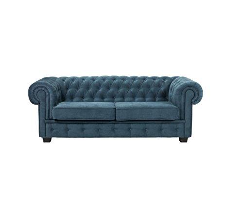 BMF Chesterfield Turquesa Calidad 321sofá Cama Suite Juego en Piel sintética o Tela–Elegance Line–Cualquier Color, Azul, 3 Seater Sofa Bed