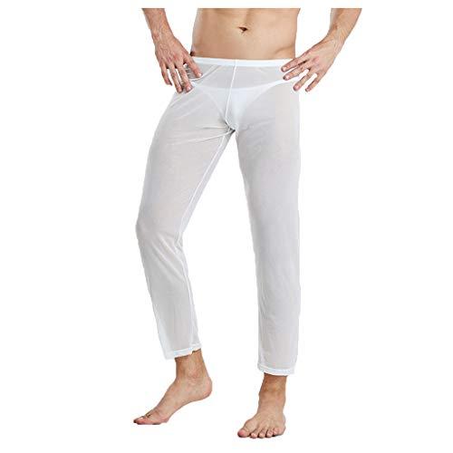 Sunenjoy Homme Pantalon Longue Sexy Transparent Taille Basse Maille Pantalon Soirée Cocktai Short de Danse Pants Long Trousers Underwear Nightwear