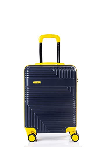 North CASE ABS 8 Wheels CCS Suitcase Luggage Trolley HARDCASE Lightweight Bag Blue-Yellow M