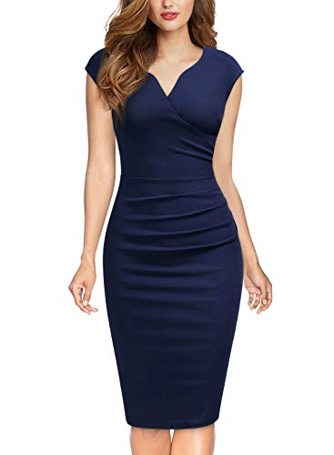 MIUSOL Damen Elegant Etuikleid Sommer Kleid V-Ausschnitt Caparm Vintage Businesskleid Cocktailkleider Navy Blau S