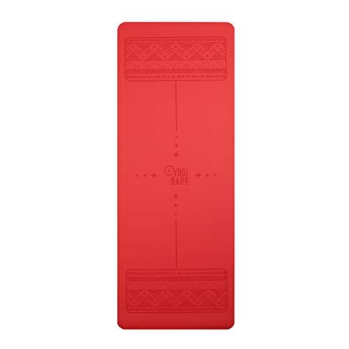 Yogi-Bare Paws -Esterilla de Yoga de Agarre Supremo - Caucho Natural con guías para la Correcta alineación del Cuerpo - Rojo