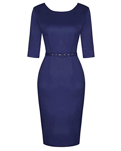 MINTLIMIT Ladies Audrey Hepburn 60s Retro Pocket Empire Waist Special Occasion Party Dress for Women Navy Blue XXL