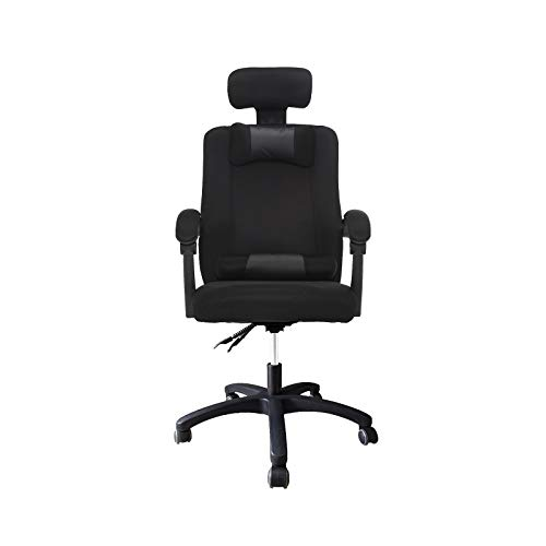 Home Office Chair Ergonomic, Breathable Mesh Fabric Computer Desk Task Chair Swivel, Reclining Back, Adjustable Headrest &Seat Height - Black