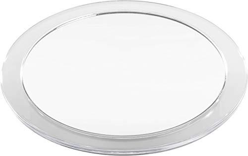 Make Up Spiegel rund mit 10-fach Vergrößerung: Badezimmer Wandspiegel klein mit Saugnapf – selbstklebend - Kosmetik Makeup Spiegel zum Kleben 15cm, Weiß, von Fantasia