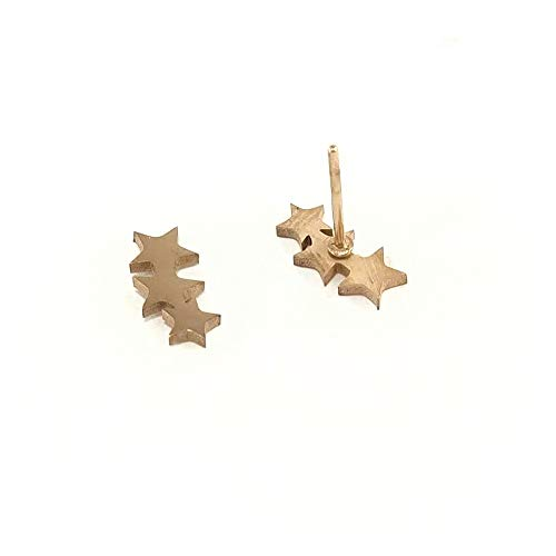 Pendientes para mujer de estrellas color oro rosa cobre originales joyeria pequeños de acero inoxidable ultima moda femenina