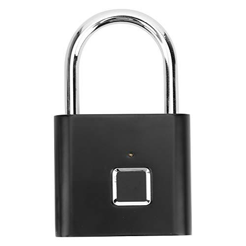 Candado con huella digital, tecnología biométrica, candado sin llave, candado inteligente recargable para gabinete, cajón para equipaje, maletas, gabinete, mochila(black)