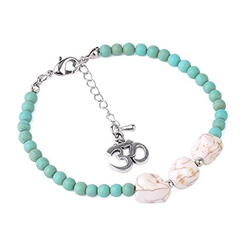 Beads Bracelet,7 Chakra Matte Frosted Turquoises Beads Natural Stones White Howlite Om Bracelet Charm Mala Yoga Bangle Gift For Men Women