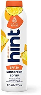 Hint Sunscreen, SPF 30, 6 fl Oz, Oxybenzone Free, Paraben Free (Pineapple), Broad Spectrum SPF 30 Compressed Air Spray-On ...