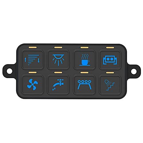 Control De Aplicación De Soporte De Panel De 8 Interruptores De Banda, Bluetooth RGB Regulable, Potencia Máxima De 800 W, CC 2 V / 24 V, con Arnés Y Etiquetas De Etiqueta, para Carro De Camión