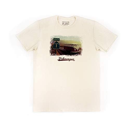 BRISA VW Collection - Stylishes Vintage Volkswagen T1 Bulli Bus T-Shirt, Unisex mit Retro-Motiv (XXL/Highway 1/Natur)