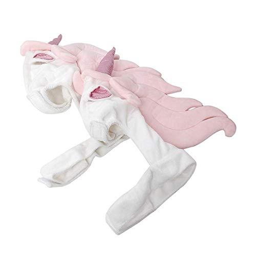 JIUI Hunde-Kostüm für 4 Jahreszeiten, bequem, warm, mit Kapuze, Einhorn, lustige Kopfbedeckung