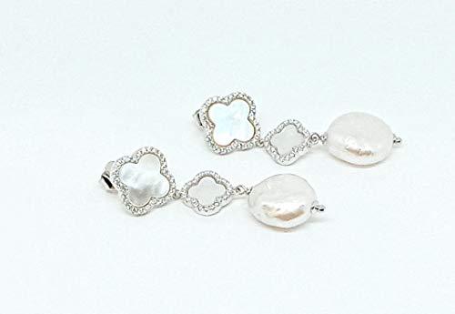 OTTAGONO Pendientes de plata 925, 2 flores de nácar blanca de graduación con circonitas y perla plana de 15 mm (GCO0008)