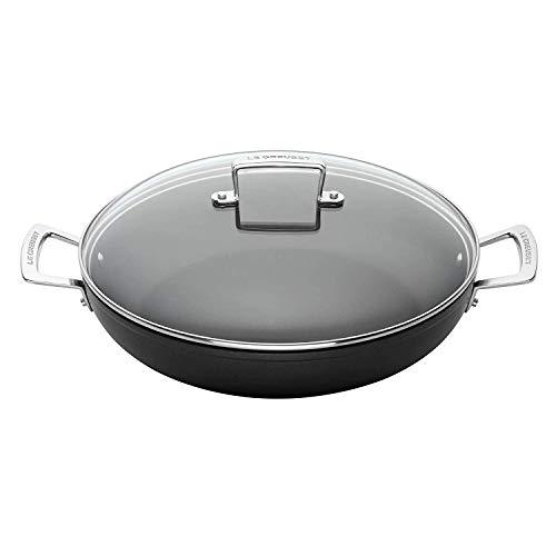 Le Creuset Aluminium-Antihaft Profipfanne mit Deckel, Ø 26 cm, PFOA-frei, Für alle Herdarten inkl. Induktion geeignet, Anthrazit/Silber